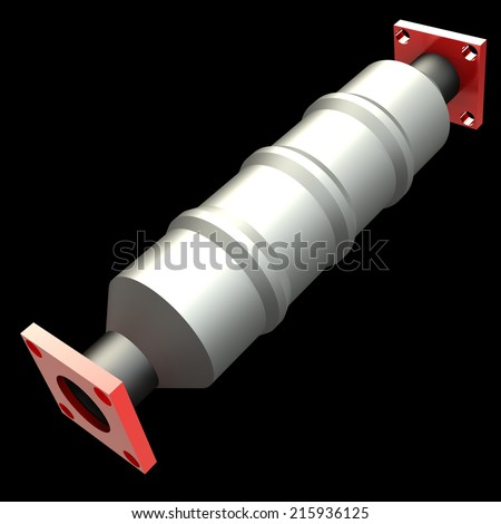 3D shiny reflecting catalytic converter on a black background - stock photo