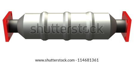 3D shiny reflecting catalytic converter on a white background - stock photo