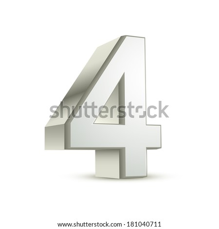 3d shiny silver number 4 on white background