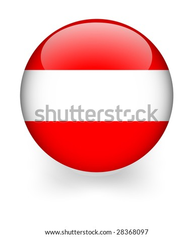 3d shiny sphere with osterreich (austria)  flag