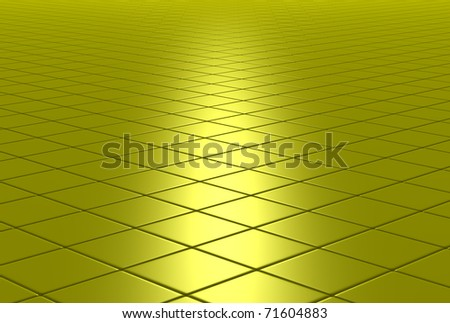 3D shiny tiled floor background - stock photo