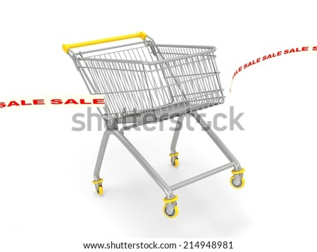 3d shop cart breaking sale tape. First concept
