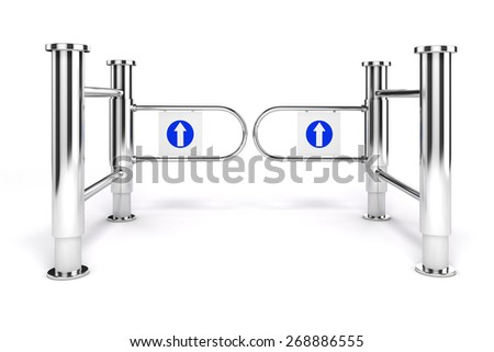 3d shop turnstile entrance with arrow sign, on white background - stock photo