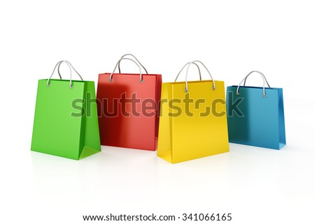 3d shopping bags, sale concept  - stock photo