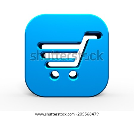 3D Shopping basket sign on blue button
