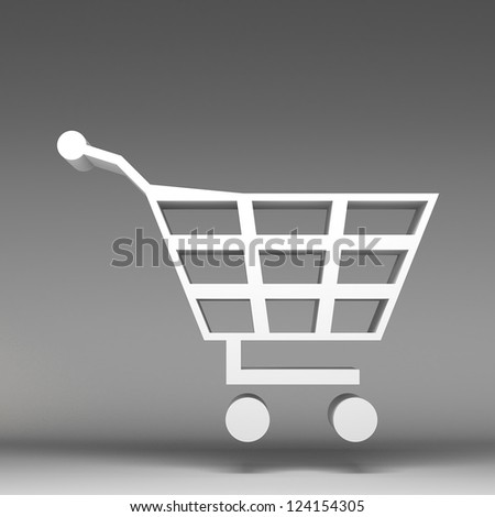 3d shopping cart - stock photo