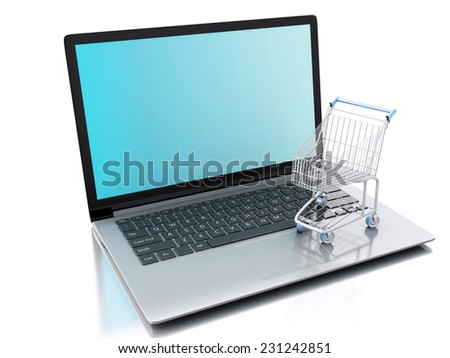 3d Shopping cart and laptop. Online shopping concept. isolated white background