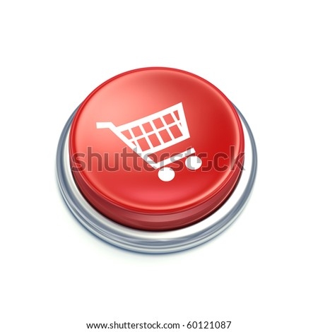 3D shopping cart button on white