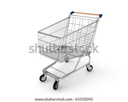 3d shopping cart isolated on white background - stock photo