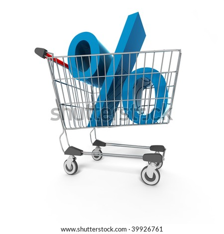 3d shopping cart on white background - stock photo
