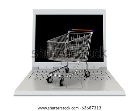 3d shopping cart on white laptop isolated on white background