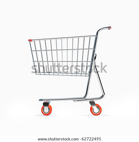 3D Shopping Cart Side View - stock photo