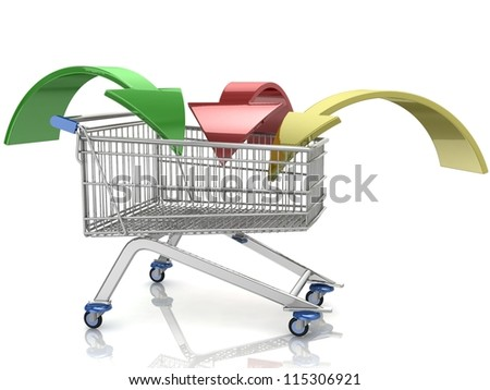 3D Shopping cart with arrows on white background