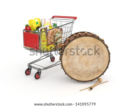 3d shopping cart with food and drink and ramadan drum - isolated