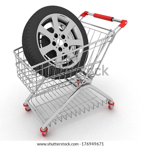 3D Shopping cart with wheel. Conception of purchase of repair parts for a car - stock photo