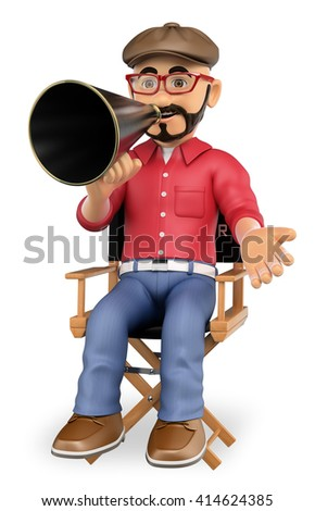 3d show business people. Film director sitting in his chair with a megaphone. Isolated white background. - stock photo