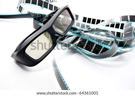 3D shutter glasses on film strip, 3-d experience
