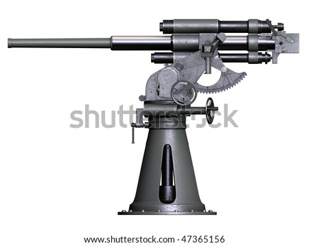 3d side render Soviet naval 45mm Gun 21K - stock photo