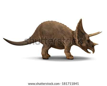 3d side view render of a triceratops - stock photo