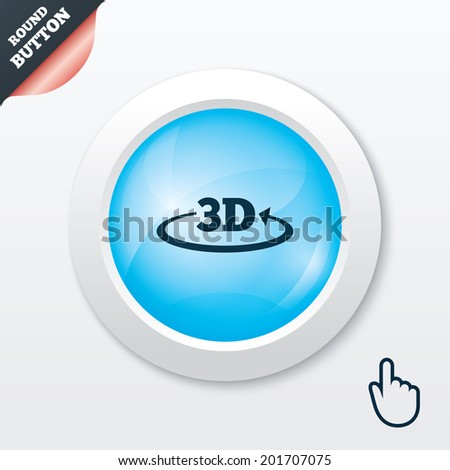 3D sign icon. 3D New technology symbol. Rotation arrow. Blue shiny button. Modern UI website button with hand cursor pointer.