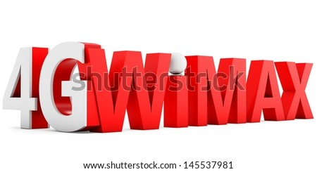 3d sign of 4G  Wimax wireless technology on white background