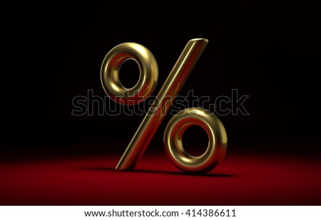 3D sign of golden percent on a dark background - stock photo