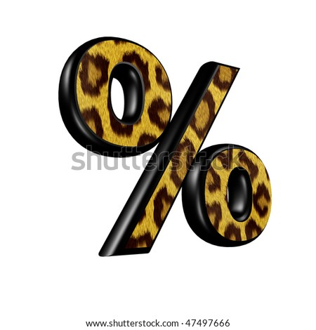 3d sign with panther skin texture - percent
