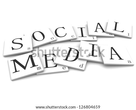 3D Signs word: Social Media - stock photo
