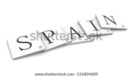 3D Signs word: Spain - stock photo