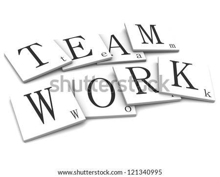 3D Sigs Word Team Work - stock photo