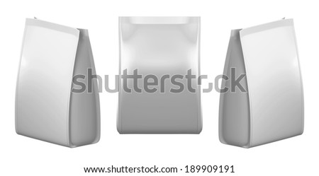 3D Silver bag package on a white background, isolated - stock photo