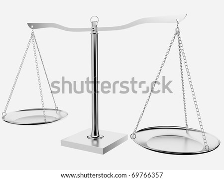 3D Silver balance - render - stock photo
