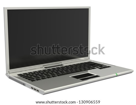3D silver blank notebook isolated on white background - stock photo