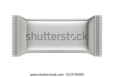 3D Silver Blank Sweet Snack packing design for wrappers, object isolated die cut