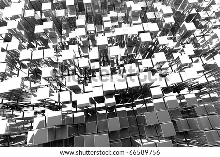 3D Silver Blocks Abstract Background - stock photo