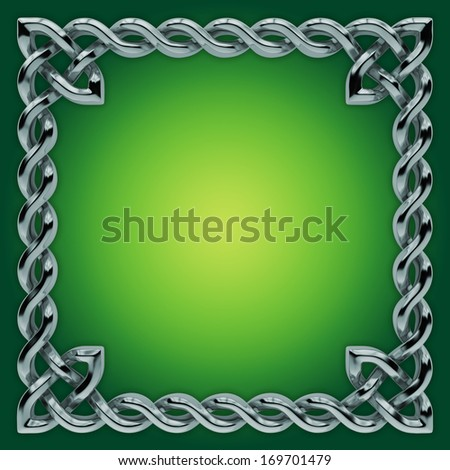 3d silver Celtic frame with twisted border, design element - stock photo