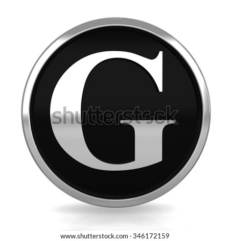 3d silver circle letter G with metal frame alphabet render - stock photo