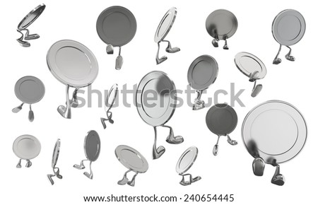 3D Silver Coins Cartoon walking go and jump on white background, isolated - stock photo