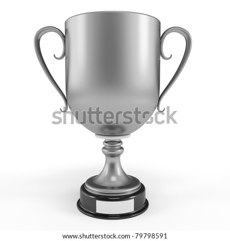 3d silver cup trophy isolated on white - stock photo