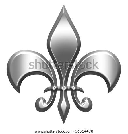 3d silver fleur de lis - stock photo