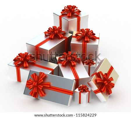 3D Silver Gift christmas boxes isolated on white - stock photo