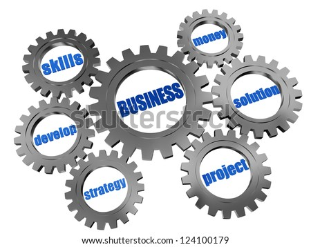 3d silver grey gearwheels with words business concept - stock photo