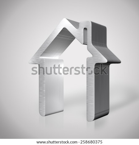 3d silver house render - stock photo