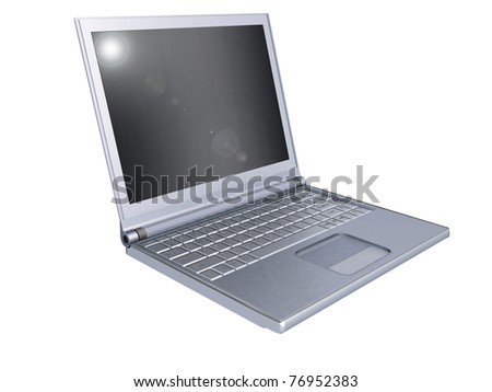3d silver laptop  on white background. - stock photo