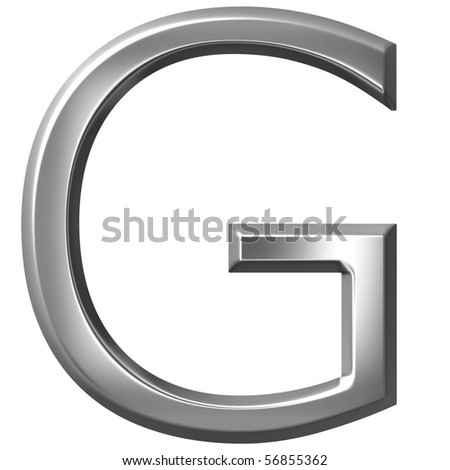 3d silver letter G - stock photo