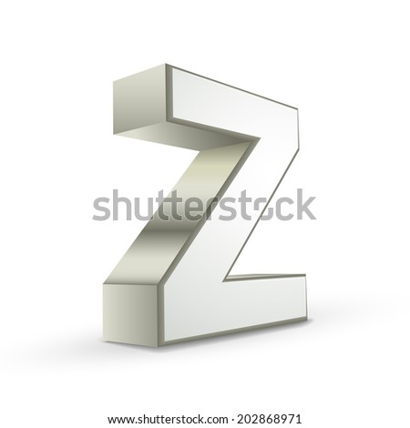 3d silver letter Z isolated white background