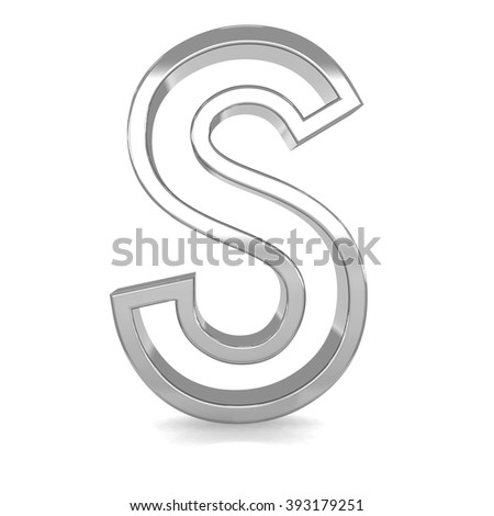 3d silver metal frame letter S rendering with metallic empty line shiny alphabet - stock photo