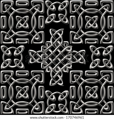 3d silver metallic Celtic seamless pattern background, vintage forge, isolated on black - stock photo