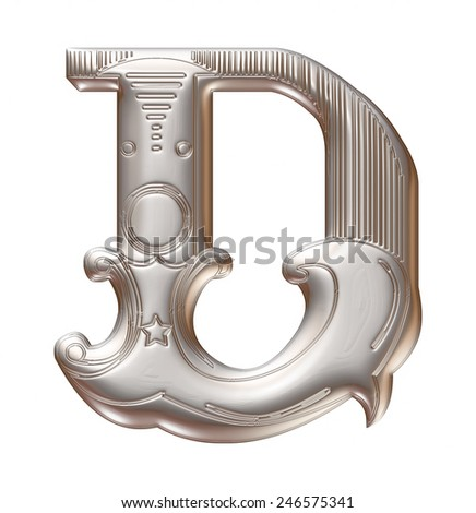 3D silver metallic illustration of an English alphabet letter D in graphic style with ornaments on isolated white background. - stock photo
