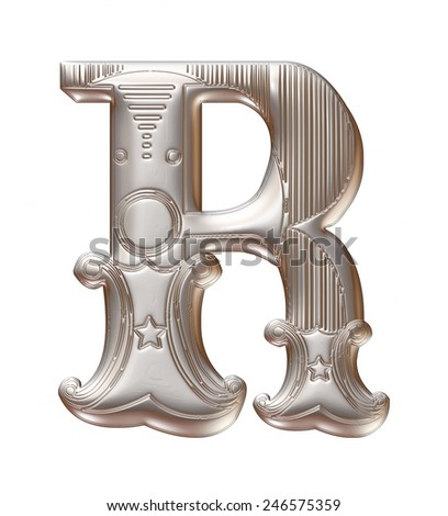 3D silver metallic illustration of an English alphabet letter R in graphic style with ornaments on isolated white background. - stock photo